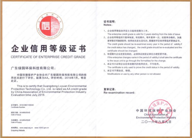2016年企业信用等级证书AA级