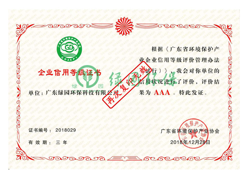 信用等级AAA级证书